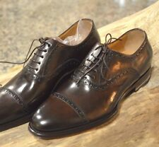 SANTONI *FATTE A MANO* Brushed Brown Leather BROUGE CAP OXFORD UK11 US12