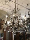 1960s Brass and Crystal Hollywood Regency Chandelier