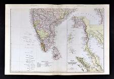 1883 Blackie Map - South India - Ceylon Burmah Malaysia Singapore Bombay Madras