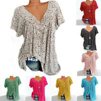 Womens Casual Summer Loose Pullover Shirt Blouse Tee Ladies Floral Tops UK 8-24