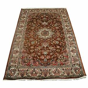 Wow Exotic Burnt Orange Rust Area Rug Hand Knotted Wool Silk Carpet (4 x 6)'