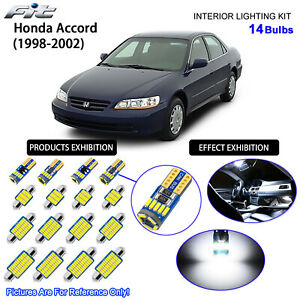 14 Bulbs LED Interior Dome Light Kit Cool White For 1998-2002 Honda Accord Sedan