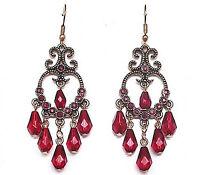 Women Vintage Retro Red Christmas Long Tassel Chain party Earrings Ear Hook Drop