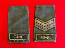 Vintage Canadian Army Shoulder Boards Lot of 2 EME & CME Green on Green knu1