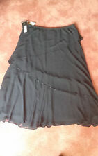 Black, tiered, beaded, long skirt, dressy, Size 20