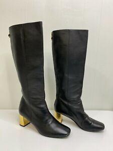 Kate Spade Genuine Leather Knee High Boots Gold Tone Block Heels Back Zip sz 6B