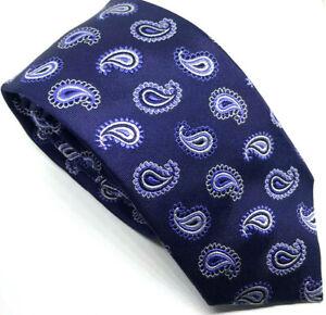 "T.M. Lewin Men's Tie Blue Paisley 100% Silk 3.25"" Wide 61"" Long"