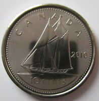 2010 CANADA 10¢ BRILLIANT UNCIRCULATED DIME COIN ☆ FLAG UP VARIETY ☆