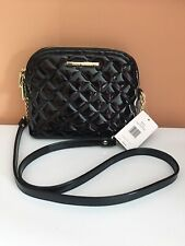 STEVE MADDEN HANDBAG BMARILYN PATENT Black QUILTED With GOLD Hardware