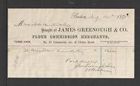 1875 JAMES GREENOUGH & CO FLOUR COMMISSION MERCHANTS BOSTON MASS BILLHEAD