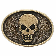 "Skull Trophy Belt Buckle Antique Brass 6003-09 Made in the USA 3"" x 2"""