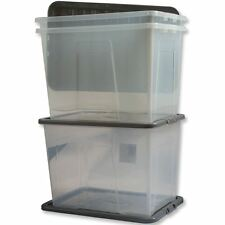 2 x CLEAR PLASTIC STORAGE BOX 80 LTR LITRE BOXES LARGE CONTAINER & LID