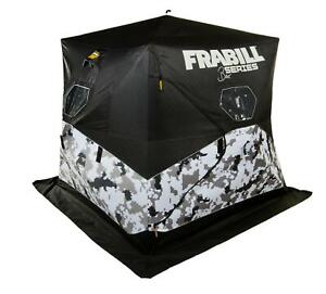 New Frabill Shelter Hub Bro with 600D Polyester for up to 3 Anglers, Arctic Camo