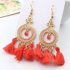 NEW Women Vintage Boho Bohemian ORANGE Tassel Dangle Drop Hoop Hook Earring GOLD