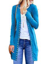 UK Fashion Women Spring Casual Loose Button Cardigan Top Ladies Slim Coat Jacket