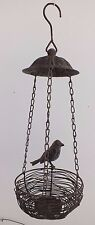 HANGING METAL BIRD FEEDER WITH BIRD ON SIDE RUSTIC STYLE