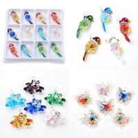 12pcs Mixed Color Handmade Lampwork Glass Pendants BUTTERFLY BIRD CAT ELEPHANT
