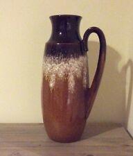 West German Large Handled Jug Vase Drip Lava Glaze Mid Century Vintage Retro