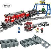 10pcs Mini Plastic Trains Rail Compatible Lego Train Tracks Railroad Railcars