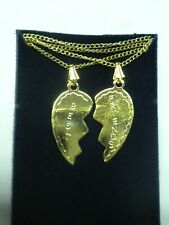 Vintage Best Friend Broken Heart Share Necklace Gold Tone 18 in with 2 necklaces