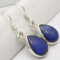 "Engagement Earrings ! 925 Solid Silver DROP Shape NAVY BLUE LAPIS LAZULI 1.3"""
