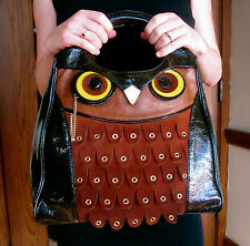 Kate Spade Buttery Suede Maximillian Maxwell Owl Patent Leather Handbag Bag Tote