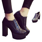 Women Ladies High Heel Block Platform Ankle Chelsea Boot Slip On Shoe AU Size