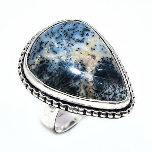 Dendritic Agate Gemstone 925 Sterling Silver Jewelry Ring Size 8 E296