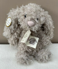 Jellycat Curly Brown & White Bunny Rabbit RARE Retired Soft Toy Comforter J611