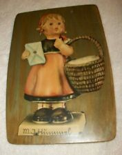 Vintage Hanging Wall Picture - Girl with Basket