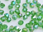 200 Wholesale 4mm Bicone Faceted Crystal Glass Loose Spacer Beads Grass Green AB