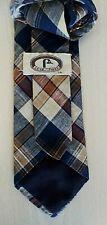BERT PULITZER Plaid Tie Cotton Blend Brown Blue Cream