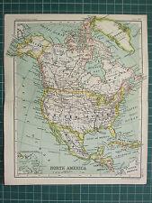 1904 mapa pequeño ~ América del Norte Estados Unidos dominio de Canadá México Alaska