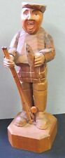 """Vintage Anri Italian Painted Wood Carved Figurine Wood Fly Fisherman 7"""""""