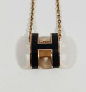 HERMES Accessories PopH H logo Pendant Necklace Lacquer Black/Gold