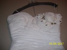 BEAUTIFUL WOMENS SHORT WHITE ROSE COUTURE DRESS SIZE 14, MacDuggal RV $420.00