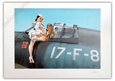 Affiche Romain Hugault Pin-up Avion 17-F-8 Signée 50x70 cm