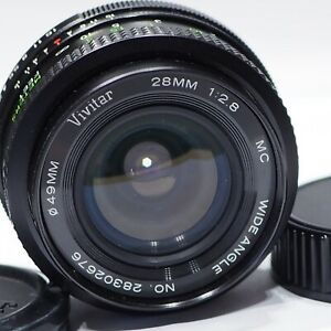 Pentax K fit Vivitar 28mm 1:2.8 camera lens, made in Japan, PK Camera mount