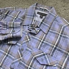 BANANA REPUBLIC MEN 15 1/2 MEDIUM PLAID PURPLE BLUE SOFT CASUAL COTTON DRESS