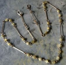 antique art deco mother of pearl bead gold filled wired necklace -A83