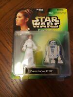 Star Wars POTF Power of The Force Princess Leia & R2-D2 Action Figure Set MOC