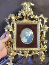 Italian Rococo Gold Gilt Italy Wood Wooden Picture Frame Miniature Portrait Man
