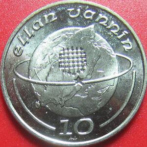 1989 ISLE OF MAN 10 PENCE GLOBE ISLAND PORTCULLIS ELLAN VANNIN 28mm (no silver)