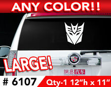 "TRANSFORMERS DECEPTICON LARGE DECAL STICKER 12""w x11  Any 1 Color"