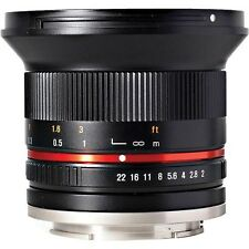 NEW Samyang 12mm F2.0 Wide Angle Lens for SLR and DSLR CAMERAS with Case Canon M