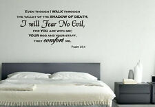 Even Though I Walk Through The Valley Bible Verse Wall Decal Sticker Psalm 23