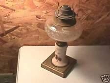 Antique Kerosene Lamp Iron Base Pink Glass Column