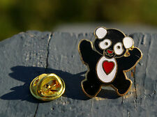Black & White Bear Reverse Panda Red Heart Tummy Metal Enamel Lapel Pin Pinback
