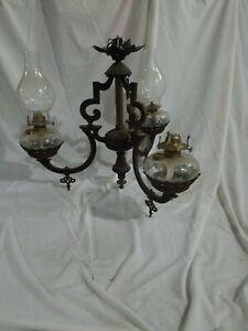 Antique Victorian Cast Iron Oil Lamp Chandelier