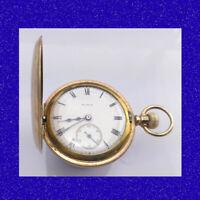 Retro & Vintage 14k Gold Elgin Rail 17 Jewel Deco Half-Hunter Pocket Watch 1911
